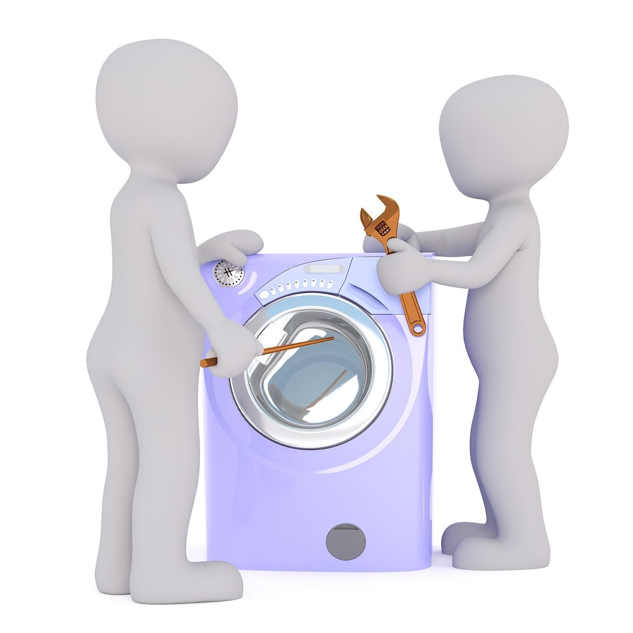 Zwei gezeichnete Menschen stehen mit Werkzeug vor einer Waschmaschine.