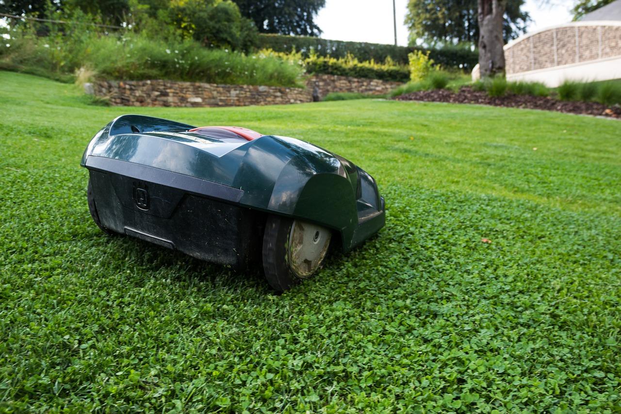 Ein Roboter mäht einen Rasen.